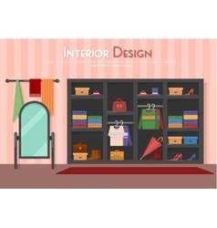 flat of room with wardrobe vector image