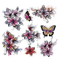 floral collection of flowers with watercolor spots vector image