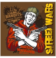 Gangster with two pistols 9mm vector
