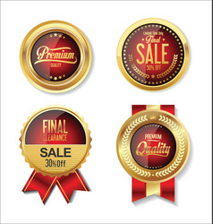 golden sale red badge collection vector image