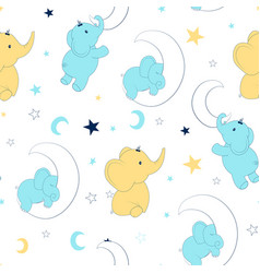 Hand drawing sweet elephant pattern vector