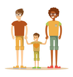 Happy mixed-race gay couple with son vector