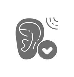 Hearing loss bad hearing test gray icon vector