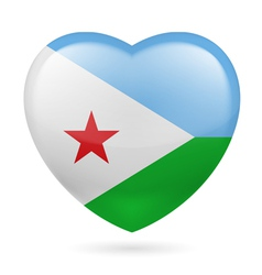 Heart icon of Djibouti vector image