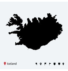 High detailed map of Iceland with navigation pins vector