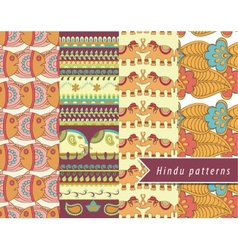 Hindu patterns set vector image