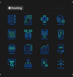 Hosting thin line icons set vps customer vector