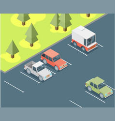 Isometric car parked flat vector