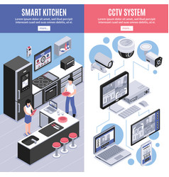 isometric smart home banner set vector image