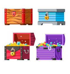 jewelry chests with gold coins and lock money and vector image