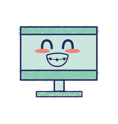 Kawaii cute funny computer technology vector