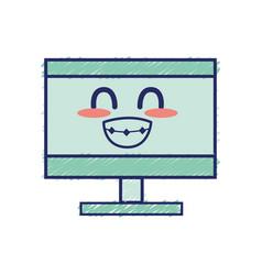 Kawaii cute funny computer technology vector