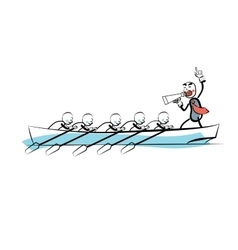 Leader teamwork business concept boat rowers vector image
