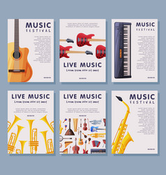 live music festival banner tempates set vector image