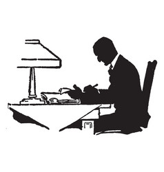 man writing or man writing on board vintage vector image