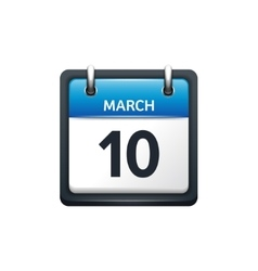 March 10 Calendar icon flat vector image