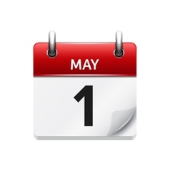 May 1 flat daily calendar icon date vector