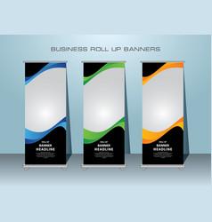Modern roll up banner template design vector