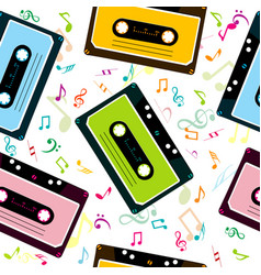 musical background with audio tape cassettes and vector image