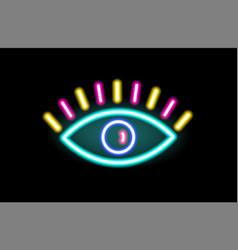 neon sign eye glowing on black background vector image
