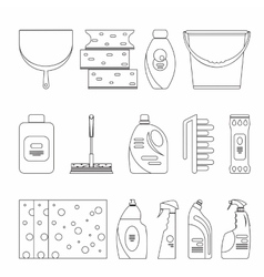 Outline seamless cleaning products and equipment vector image