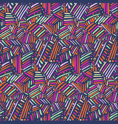 Pattern with tribal chaotic hand drawn lines vector