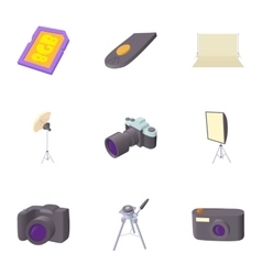 Photographing icons set cartoon style vector image