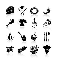 Pizzeria icons set black vector image
