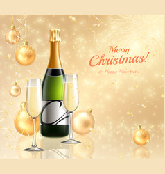 Realistic champagne new year background vector
