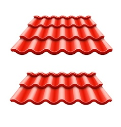 Red corrugated tile element vector image