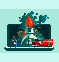 Rocket crash failed start up bad plan concept vector