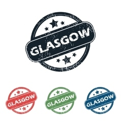 Round Glasgow city stamp set vector