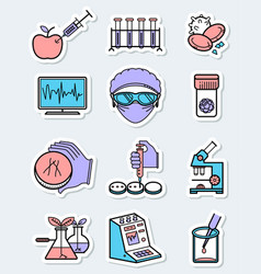 science and genetic laboratory icons set in thin vector image vector image