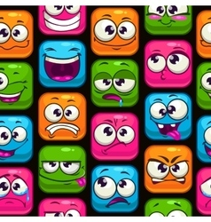 Seamless pattern with funny cartoon colorful faces vector image