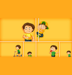 Set different kid characters on yellow color vector