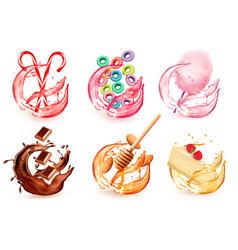 set different products flavors in juice splash vector image