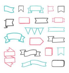set hand drawn sketchy ribbons vector image