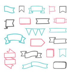 set of hand drawn sketchy ribbons vector image