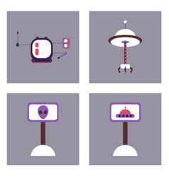 Set of icons space equipments on color background vector