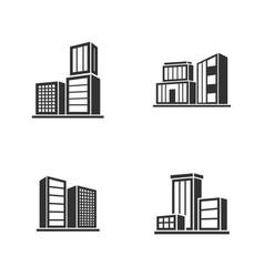 set of modern city logo design template skyline vector image