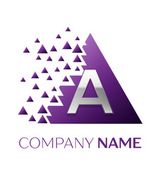 Silver letter a logo in the purple pixel triangle vector