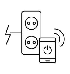 smart control electricity icon outline style vector image