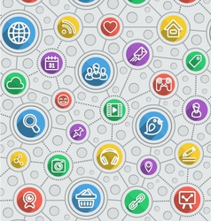 Social Networking Flat Outline Multicolor Pattern vector
