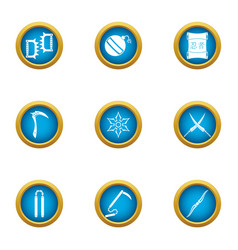 Steel weapon icons set flat style vector