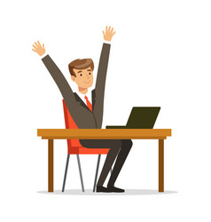 successful businessman sitting at his desk and vector image