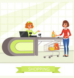 Supermarket store cashier and customer with vector