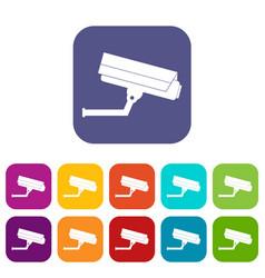 Surveillance camera icons set vector