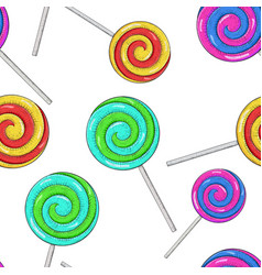 Swirl lollipops as seamless pattern colored hand vector