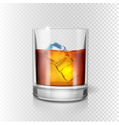 transparent realistic glass of whiskey and ice vector image
