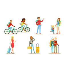 travelling and hiking people set tourists vector image